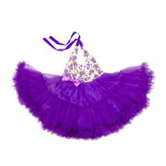 Wenchoice Purple Floral Halter Tutu Dress Girl S-XL