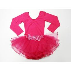 Hot Pink Glitter Rose Long Sleeve Tutu Ballet Dress Girl S-L