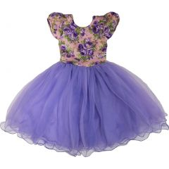 Wenchoice Girls Purple Floral Top Fluffy Flower Girl Dress S (9-24M)-XL (6-8)