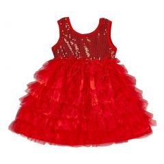 Girls Red Sparkle Sequin Tiered Tutu Flower Girl Dress 12M-7