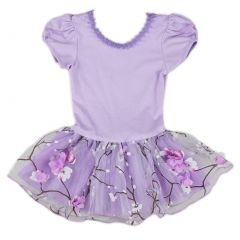 Wenchoice Girls Purple Plum Flower Print Dance Ballet Dress S (9-24M)-XL (6-8)