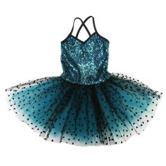Wenchoice Girls Teal Black Sequin Heart Print Ballet Dress S (9-24M)-XL (6-8)