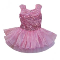 Wenchoice Girls Baby Pink Sequin Multi Layered Ballet Dress S (9-24M)-XL (6-8)