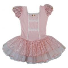 Wenchoice Girls Peach Lace Short Sleeve Fluffy Ballet Dress S (9-24M)-XL (6-8)