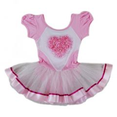 Wenchoice Girls Pink White Pearl Rose Heart Ballet Dress S (9-24M)-XL (6-8)