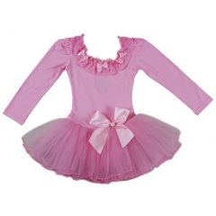 Wenchoice Girls Pink Lace Trim Bows Long Sleeve Ballet Dress S (9-24M)-XL (6-8)