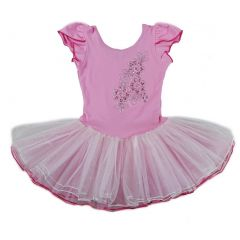 Wenchoice Girls Pink White Sequin Cap Sleeved Ballet Dress S (9-24M)-XL (6-8)