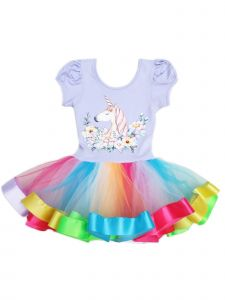 Wenchoice Girls Lavender Multi Floral Unicorn Rainbow Ballet Dress 9M-8