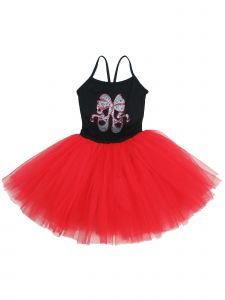 Wenchoice Girls Black Red Rhinestone Ballet Shoes Bow Ballet Dress 9M-8