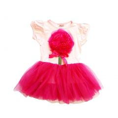 Wenchoice Pink Hot Pink Organy Flower Tutu Short Sleeved Dress Girl S-XL