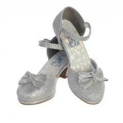Swea Pea & Lilli Girls Silver Glitter Rhinestone Bella Shoes 9 Toddler-5 Kids