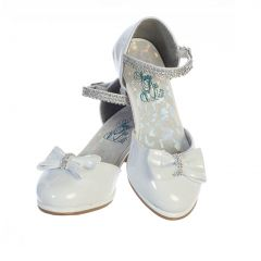 Swea Pea & Lilli Girls White Patent Rhinestone Bella Shoes 9 Toddler-5 Kids