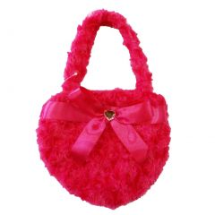 Girls Hot Pink Fuzzy Velvet Sparkle Stone Bow Attached Heart Purse