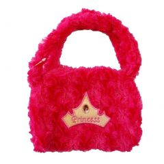 Girls Hot Pink Princess Crown Applique Stone Attached Velvet Purse
