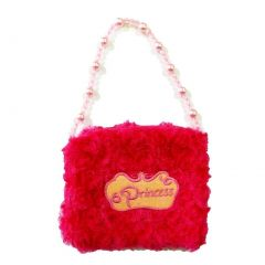Girls Hot Pink Princess Crown Applique Pearl Shoulder Strap Velvet Purse