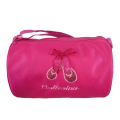 "Girls Hot Pink Sparkle Ballet Shoes Bow ""Ballerina"" Duffle"