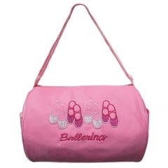 "Wenchoice Girls Pink 4 Pair Ballet Shoes ""Ballerina"" Detail Stylish Duffel Bag"