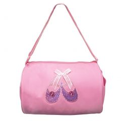Wenchoice Girls Pink Rhinestone Sequin Ballet Shoe Applique Duffel Bag