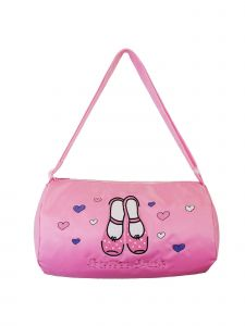 "Wenchoice Girls Pink ""Ballet Kids"" Heart Shoes Print Zippered Dance Duffle Bag"