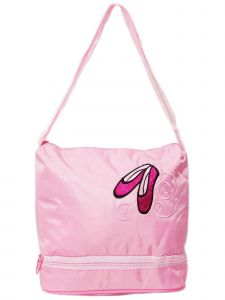 Wenchoice Girls Pink Ballet Shoe Applique Dual Compartment Zippered Dance Bag