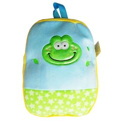 Girls Blue Yellow Star Pattern Frog Face Applique School Backpack