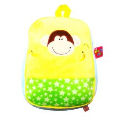 Girls Yellow Green Yellow Star Pattern Monkey Applique School Backpack