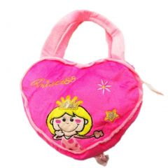 Girls Hot Pink Heart Glitter Princess Crown Wand Applique Purse
