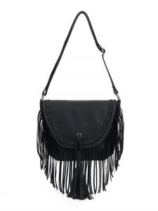 "Girls Black Fringe Tassel Adorned Braided Trim Bag Purse 11.5"" x 10.5"""