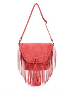 "Girls Red Fringe Tassel Adorned Braided Trim Bag Purse 11.5"" x 10.5"""