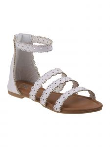 Beverly Hills Girls White Scalloped Laser Cut-Out Back Zip Sandals 11-4 Kids