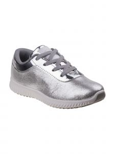 Beverly Hills Girls Silver Glitter Padded Back Collar Lace-Up Sneakers 11-4 Kids