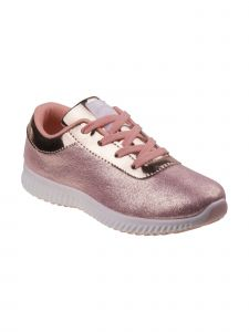Beverly Hills Girls Pink Glitter Padded Back Collar Lace-Up Sneakers 11-4 Kids