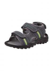 Beverly Hills Boys Gray Lime Hook-And-Loop Straps Athletic Sandals 11-4 Kids