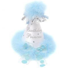 """Girls White Light Blue Feathery Rolled Ribbon """"Birthday Princess"""" Party Hat"""