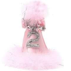 Girls Pink Silver Sequin Feathery Rolled Ribbon 2nd Birthday Party Hat