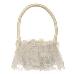 "Girls Ivory Lace Roses Adorned Flower Girl Wedding Basket 12""H x 8"" D"