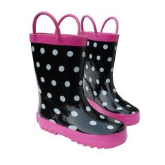 Black & White Toddler Boys Girls Rain Boots 6