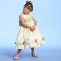 Lito Girls Ivory Sage Blossom Flower Girl Easter Pageant Dress 10