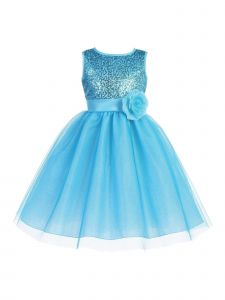 Blossom Big Girls Aqua Sequin Mesh Glitter Tulle Junior Bridesmaid Dress 7-12