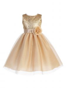 Blossom Little Girls Gold Sequin Mesh Bodice Glitter Tulle Flower Girl Dress 5-6