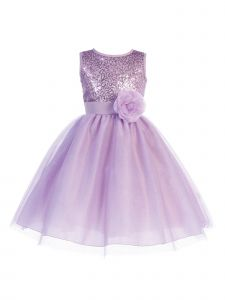 Blossom Big Girls Lilac Sequin Mesh Glitter Tulle Junior Bridesmaid Dress 7-12