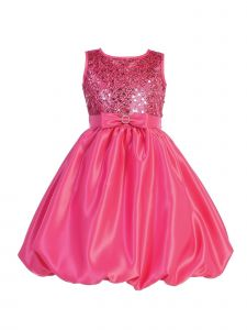 Blossom Big Girls Fuchsia Sequin Mesh Satin Bubble Junior Bridesmaid Dress 7-12