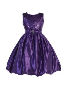 Blossom Little Girls Purple Sequined Mesh Satin Bubble Flower Girl Dress 5-6