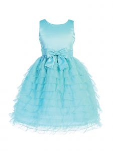 Blossom Girls Multi Colors Satin Ruffle Tulle Bow Accent Flower Girl Dress 5-12