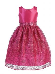 Blossom Little Girls Fuchsia Taffeta Corded Netting Flower Girl Dress 5-6