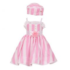 Baby Girls Pink White Vertical Stripe Ruffle Detail Easter Hat Dress 6-24M