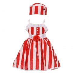 Baby Girls Red White Vertical Stripe Ruffle Detail Easter Hat Dress 6-24M