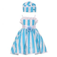 Baby Girls Turquoise White Vertical Stripe Ruffle Detail Easter Hat Dress 6-24M