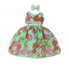 Baby Girls Mint Red Floral Print Headband Chiffon Flower Girl Dress 6-24M