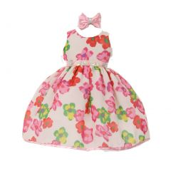 Baby Girls White Pink Floral Print Headband Chiffon Flower Girl Dress 6-24M